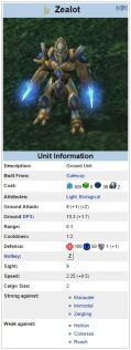 Zealot Unit Specs